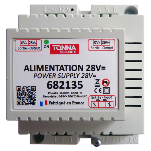 Alimentation 28 V= / 0,8 A pour interphonie - 4 modules rail DIN - Bus 2 fils REF : 682135